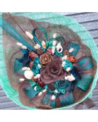 24 Exclusive Chocolate & Teal Flax Bouquet