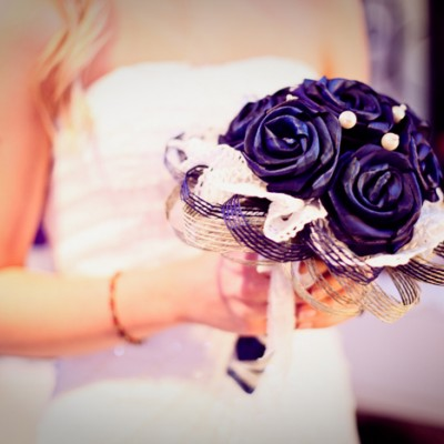Blue Vintage Flax Wedding Bouquet