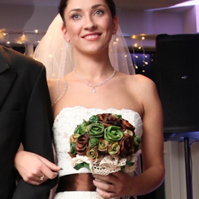 Astra Bridal Bride with Earthy Vintage Flax Wedding Bouquet