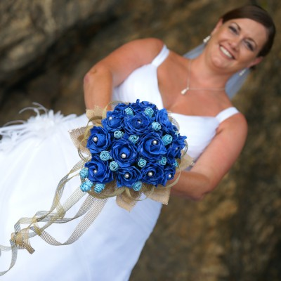 Liana and her Blue Flax Flower Bouquet 2014