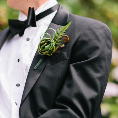 Green flax and fern buttonhole