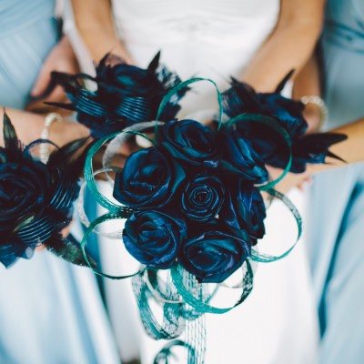 Tania's blue flax bridal bouquets