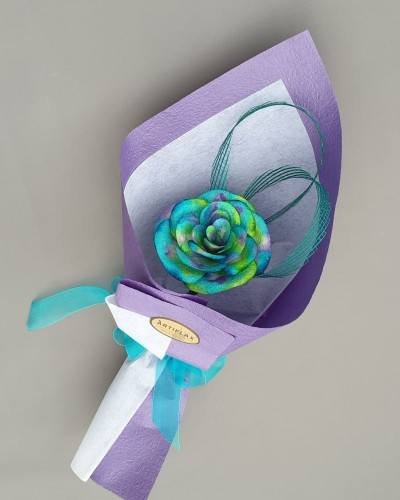 Paua Flax Paper Rose - Purple