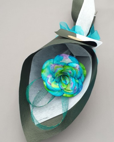 Paua Flax Paper Rose - Black